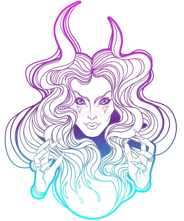Junge schöne Hexe Mystischer Charakter Alchimie, Religion, spir stock abbildung