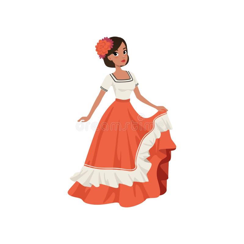 Junge schöne mexikanische Frau in traditioneller Nationalkostümvektor Illustration auf einem weißen Hintergrund vektor abbildung