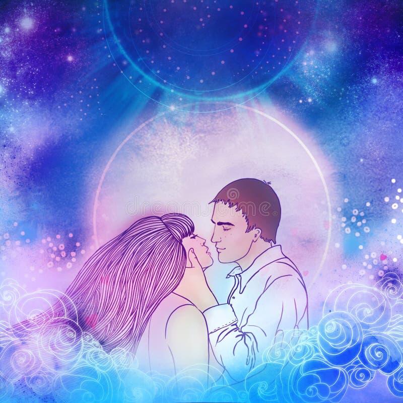Junge schöne Paare, die im Mondschein küssen Romantische Liebe, lizenzfreie abbildung
