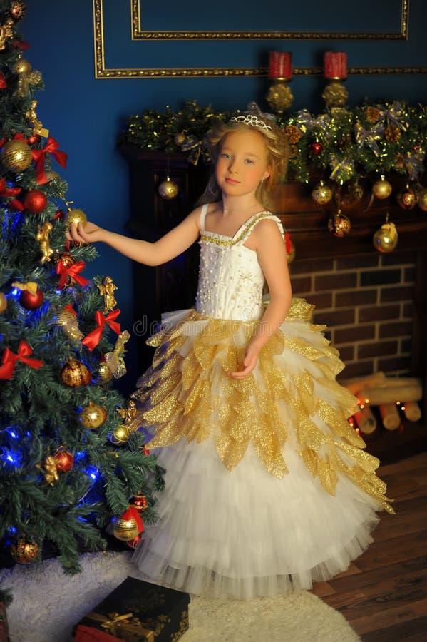 Junge schöne Prinzessin im Weißgoldschicken kleid lizenzfreie stockbilder