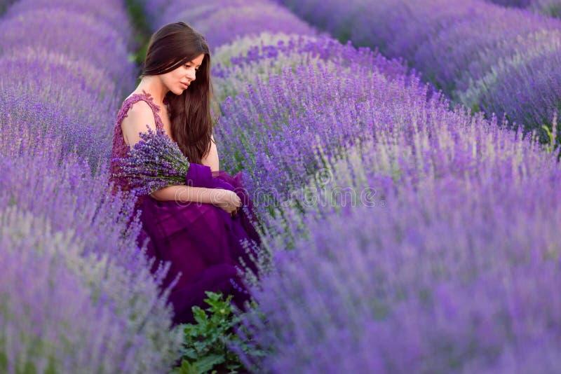 Junge Schönheit auf den Lavendelgebieten mit einer romantischen Stimmung stockfoto