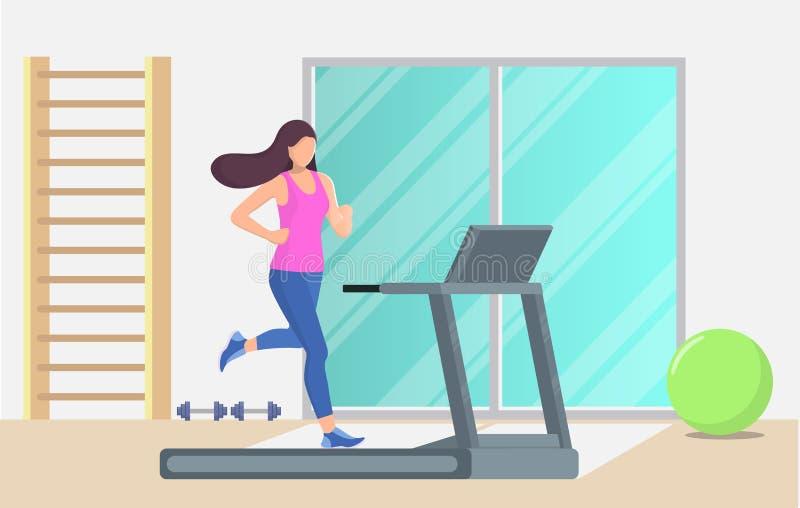 Junge Schönheit, die auf einer Tretmühle in einer Turnhalle läuft Laufendes Bild des Mädchens/der Frau, das verwendet werden könn vektor abbildung