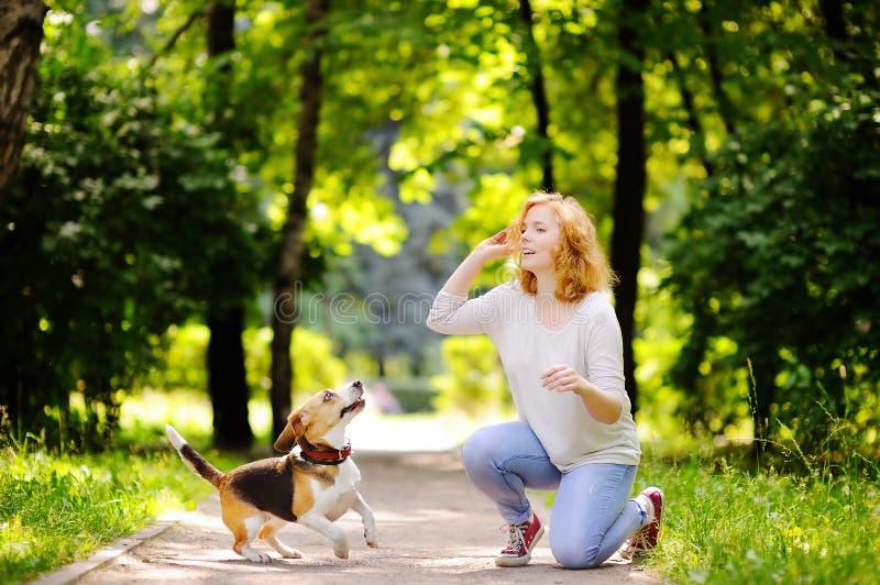 Junge Schönheit, die mit Spürhundhund spielt lizenzfreie stockfotografie