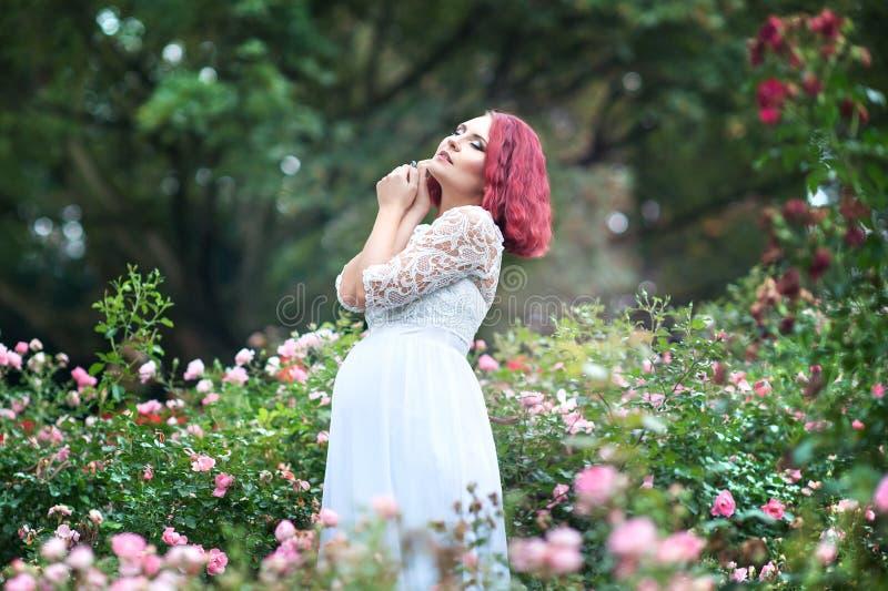 Junge Schönheit ist, die im Garten von rosa Rosen w stehen lizenzfreies stockbild