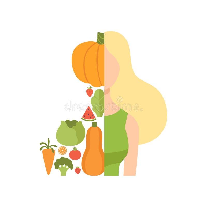 Junge Schönheit machte mit frischen Obst und Gemüse, gesunde Ernährung, Diät, organischer Vektor des strengen Vegetariers Nahrung stock abbildung