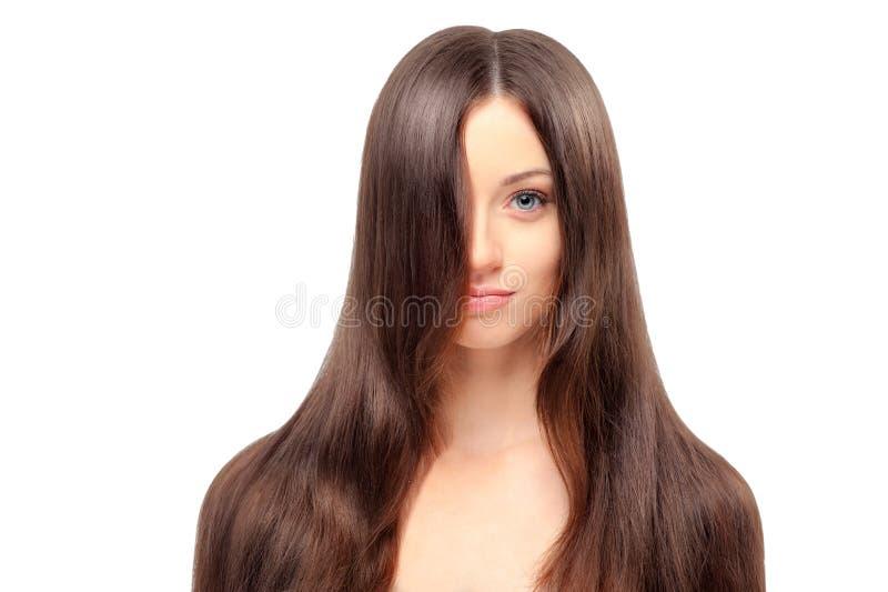 Junge Schönheit mit dem langen ausgezeichneten Haar stockfotografie