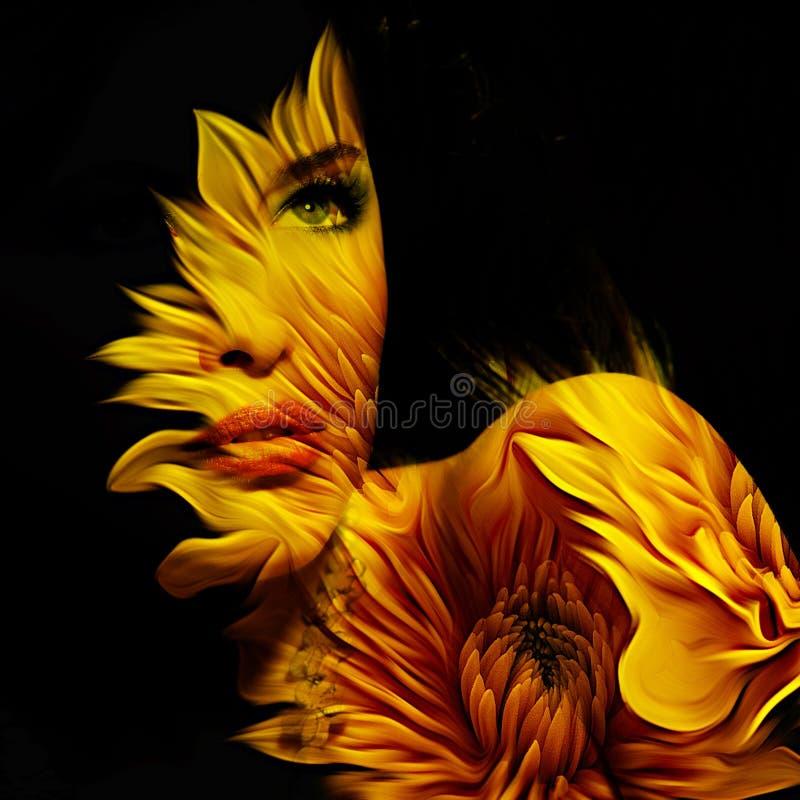 Junge Schönheitsphantasie-Porträtdoppelbelichtung lizenzfreie stockbilder