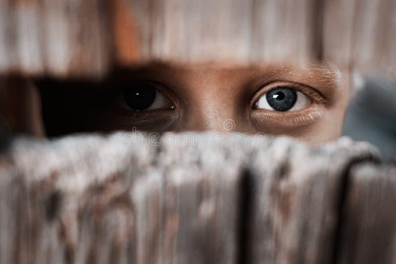 Junge schaut durch den Abstand im Zaun Das Konzept von Voyeurism, von Neugier, von Jäger, von Überwachung und von Sicherheit stockfotografie