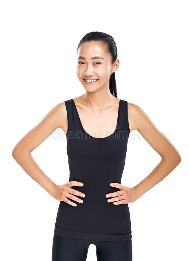 Junge schlanke Asiatin in der sportlichen Kleidung stockfoto