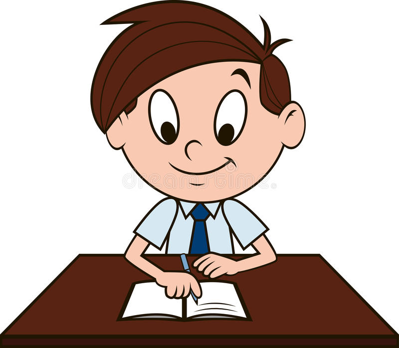Junge am Schreibtisch stock abbildung