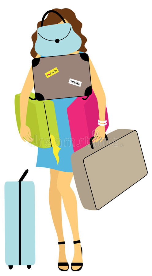 Junge schwanger mit Gepäck stock abbildung
