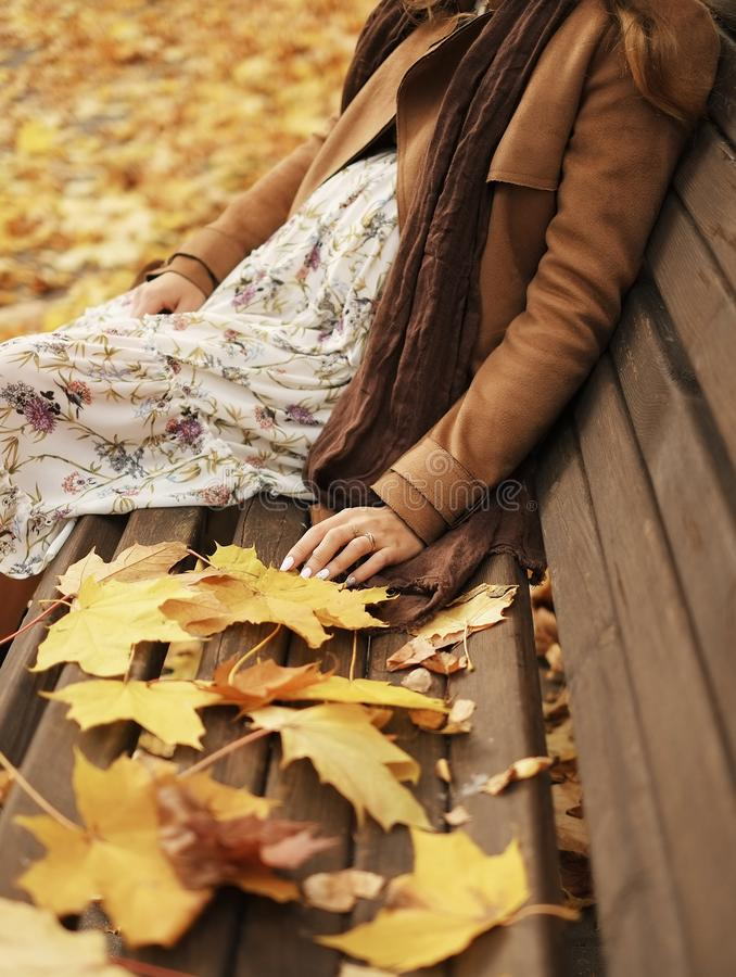 Junge schwangere Frau, die auf einer Bank im Park im Herbst mit vielen gelben Blättern sitzt lizenzfreies stockfoto