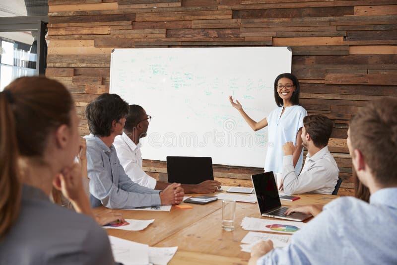 Junge schwarze Frau, die Geschäftsdarstellung am whiteboard gibt lizenzfreie stockbilder