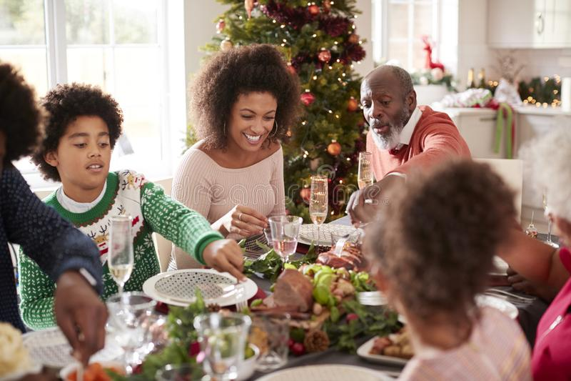Junge schwarze Frau, die Weihnachtsessen mit ihrer multi Generationsfamilie der Mischrasse, Abschluss oben isst lizenzfreie stockfotografie