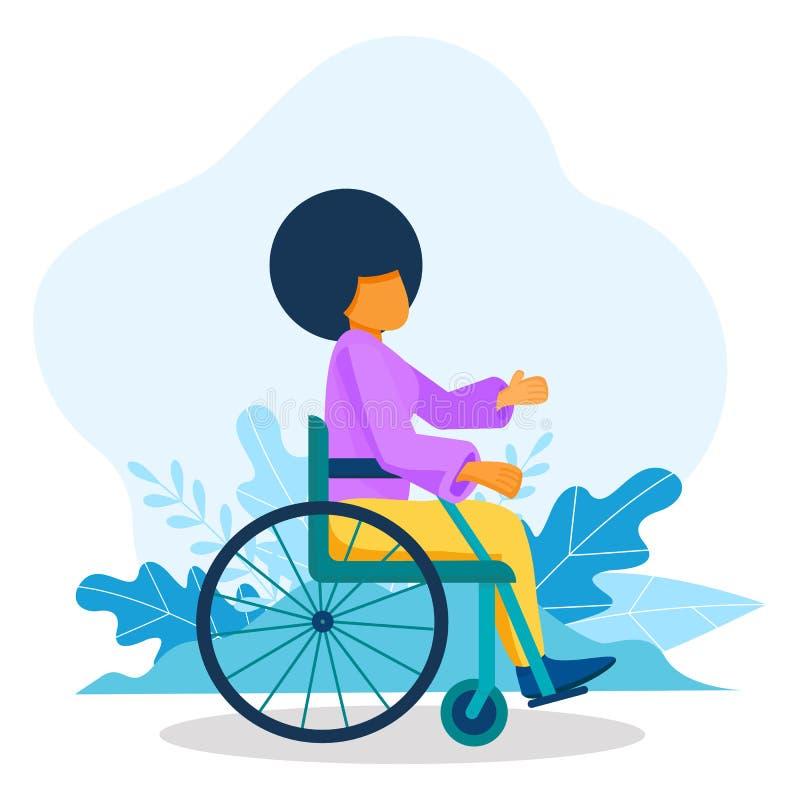 Junge schwarze Frau im Rollstuhl Afrikanisch-amerikanische Frauen mit Behinderungen, Gleichstellungskonzept stock abbildung
