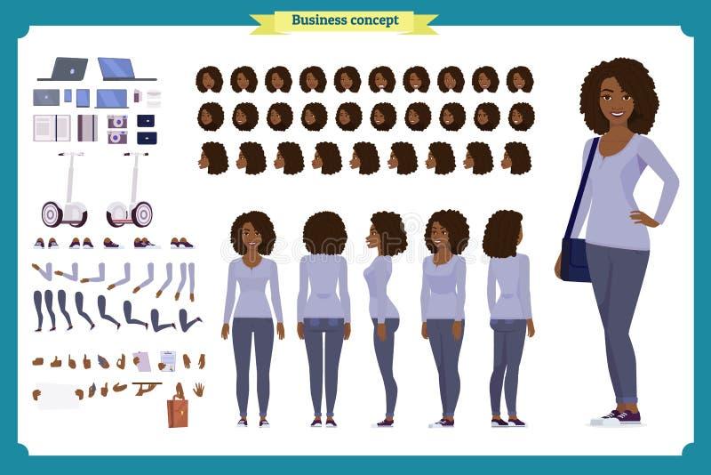 Junge schwarze Frau, zufällige Kleidung Charakterschaffungssatz , Verschiedene Ansichten in voller Länge, Gefühle, Gesten, lokali vektor abbildung