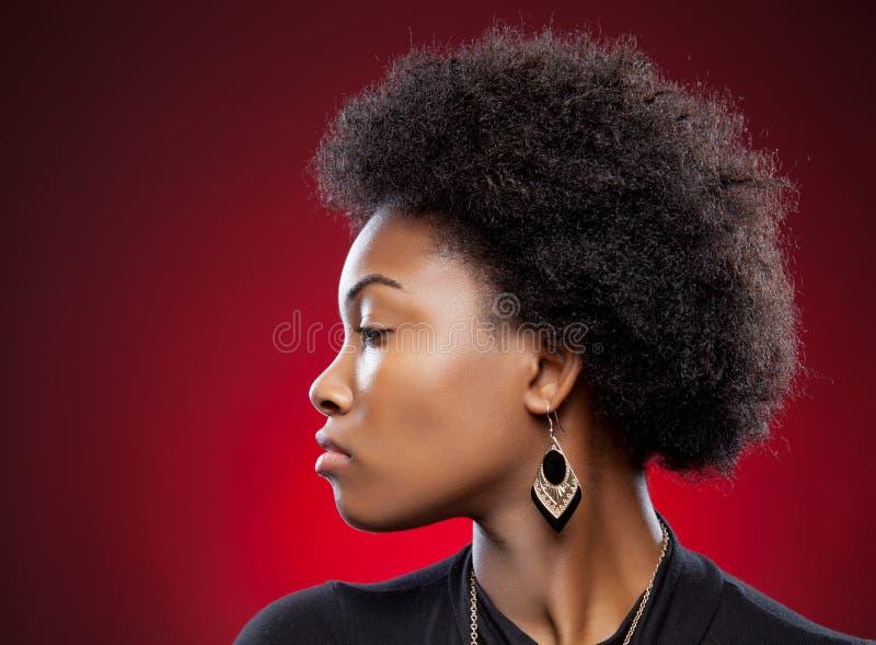 Junge schwarze Schönheit mit Afrofrisur lizenzfreies stockfoto