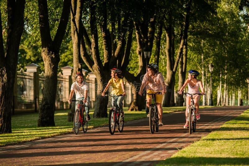 Junge sportliche aktive Leute, die in Park radfahren lizenzfreie stockbilder