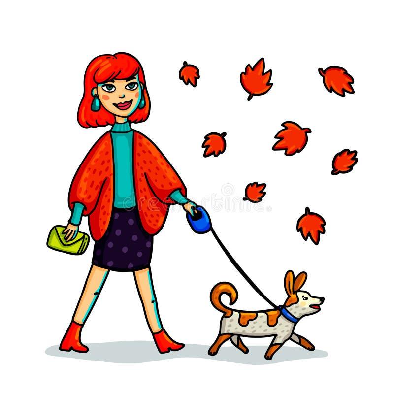 Junge stilvolle Frau, die mit Hund geht Karikaturart-Mädchenweg mit kleinem Hund im autmn Vetor-Illustration vektor abbildung