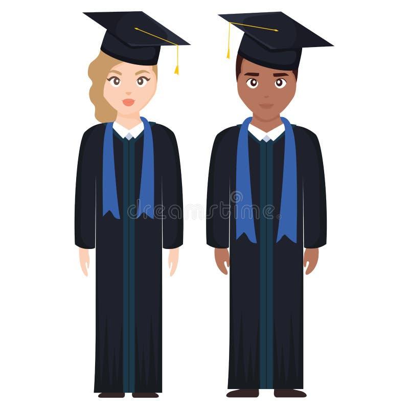 Junge Studenten graduierten Verschiedenartigkeitspaare lizenzfreie abbildung