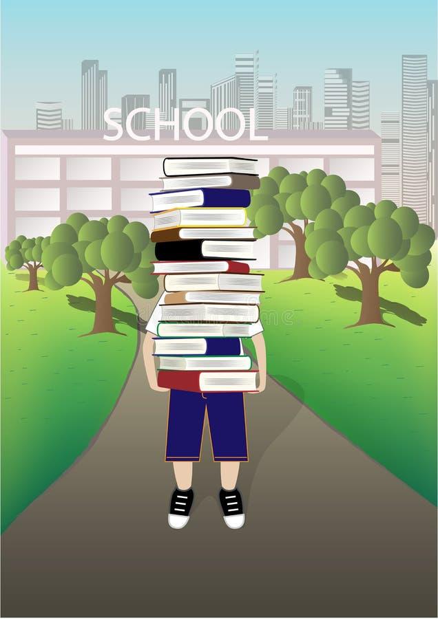 Junge trägt einen großen Stapel Bücher auf dem Schul- und Stadtbildhintergrund, Vektorillustration vektor abbildung