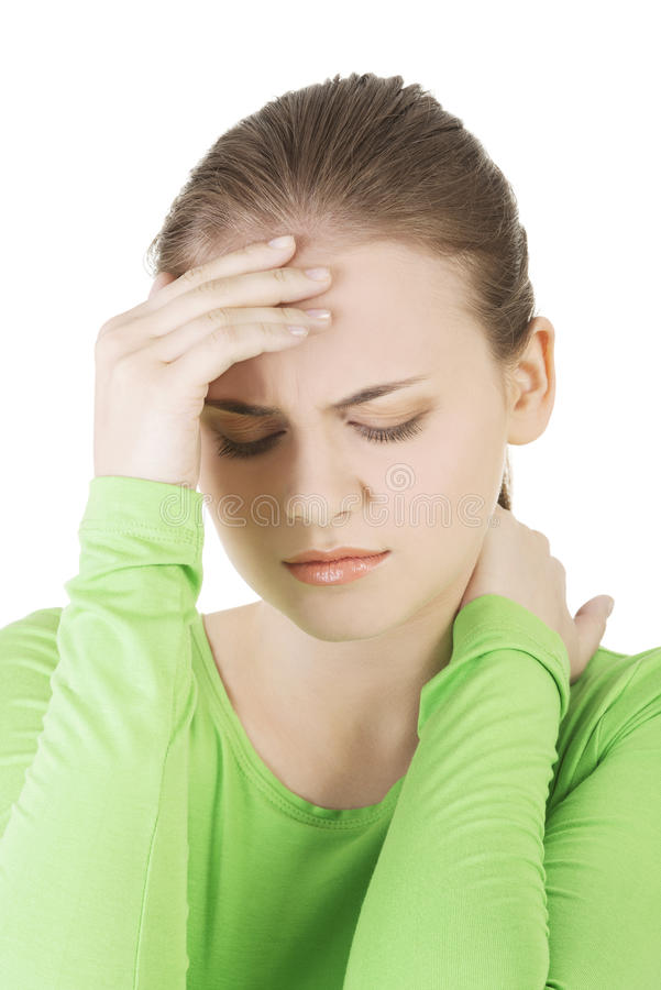 Junge traurige Frau haben großes Problem, Krise oder Kopfschmerzen lizenzfreie stockfotos