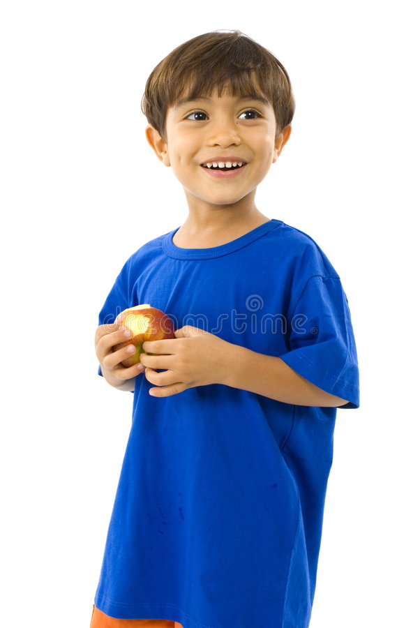 Junge und Apple lizenzfreies stockfoto