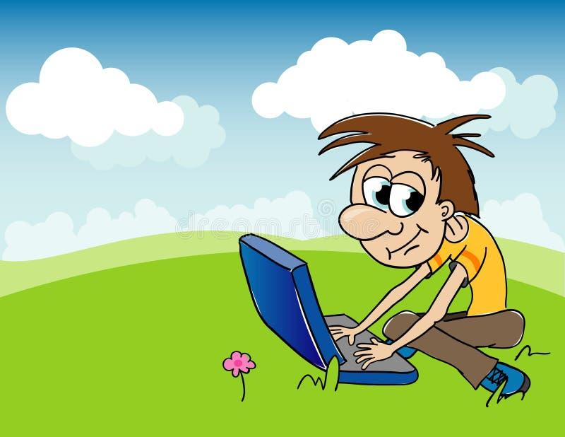 Junge und Computer lizenzfreie abbildung