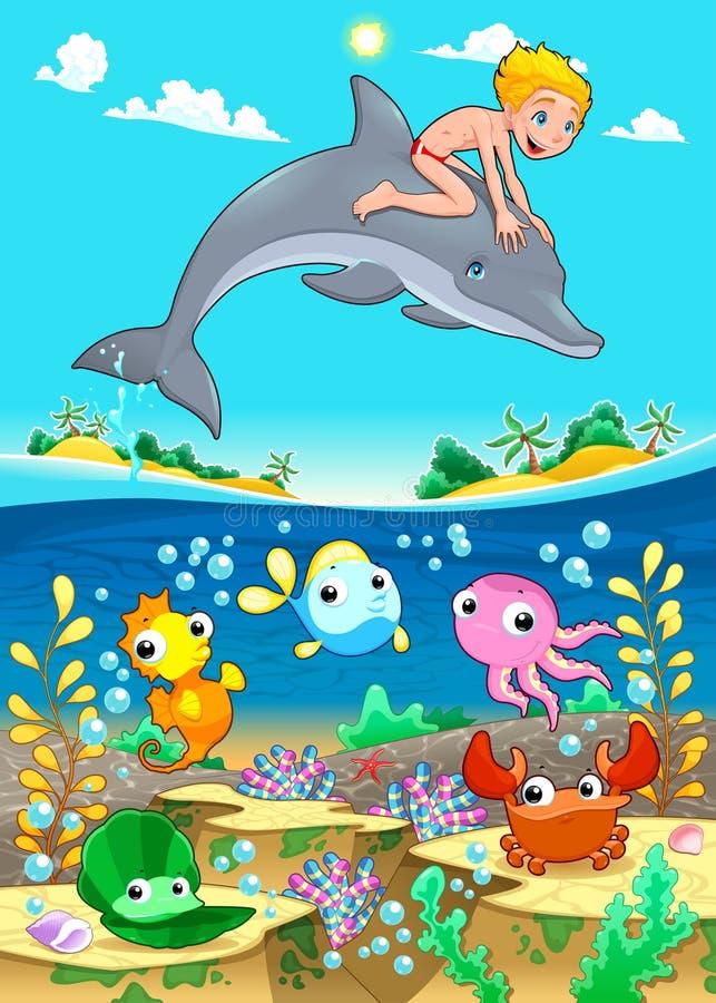 Junge und Delphin mit Fische unde das Meer. stock abbildung