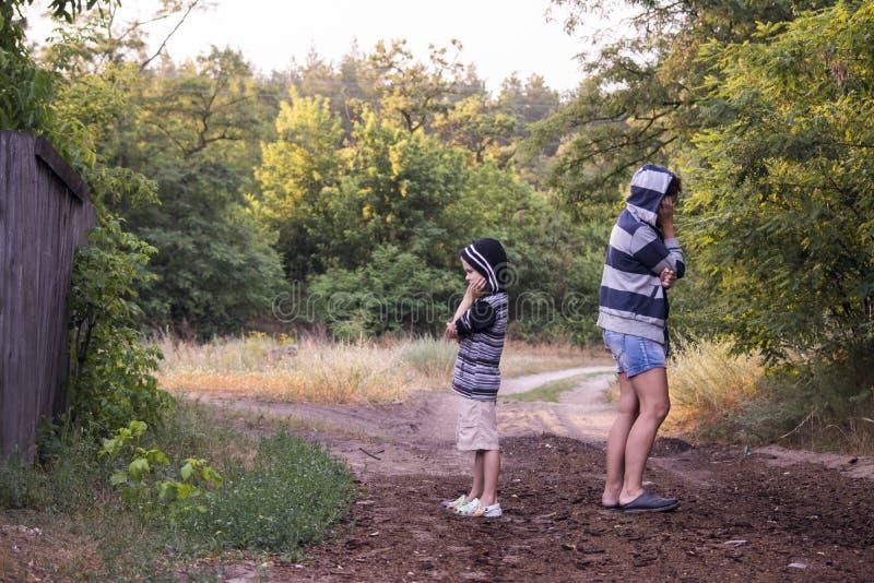 Download Junge und Frau stritten stockbild. Bild von haube, gras - 96931069