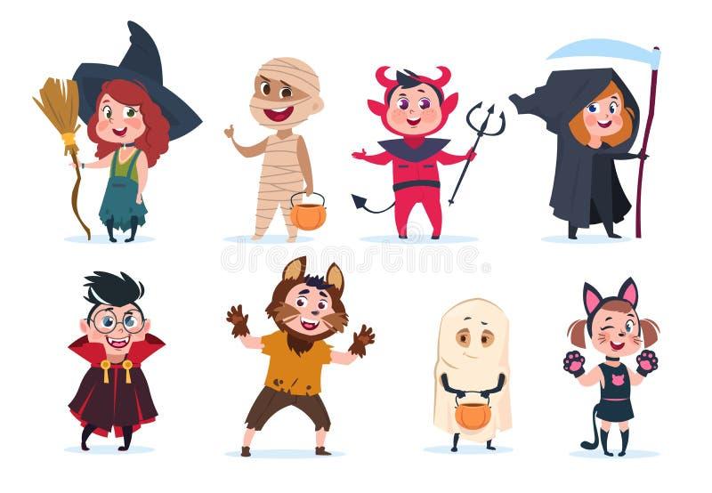 Junge und gir Karikaturkinder in Halloween-Kostümen Lustige Mädchen und Jungen am Parteivektor lokalisierten charactres stock abbildung