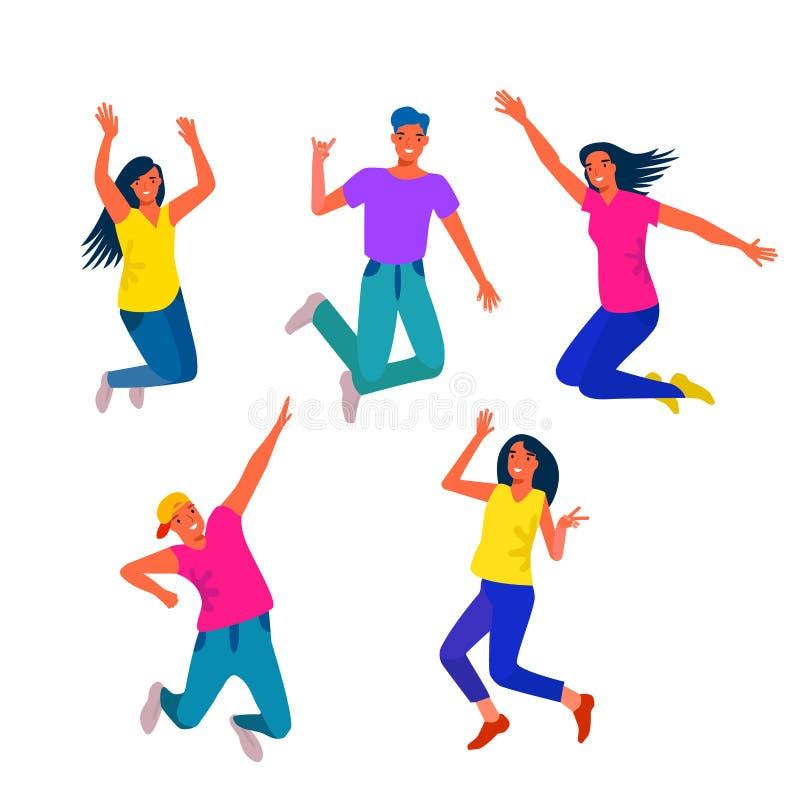 Junge und glückliche Menschen sind das Springen und tanzen Jugendkonzept Vektor vektor abbildung