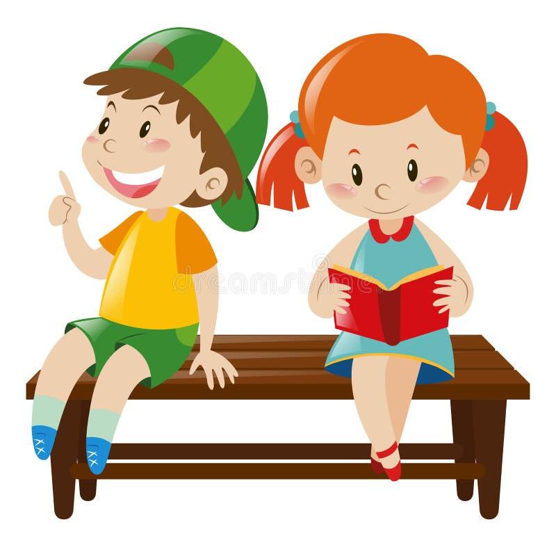 Junge und Mädchen auf Bank vektor abbildung