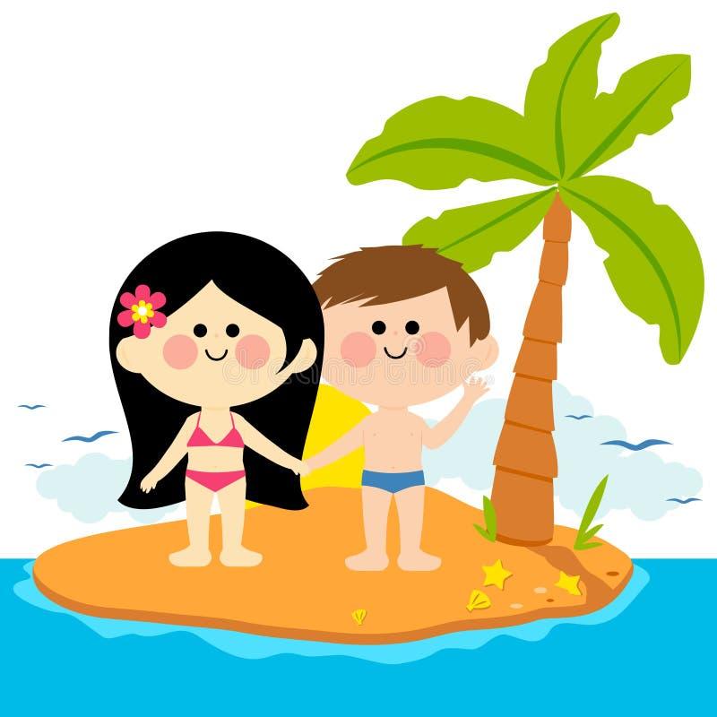 Junge und Mädchen auf einer Insel lizenzfreie abbildung