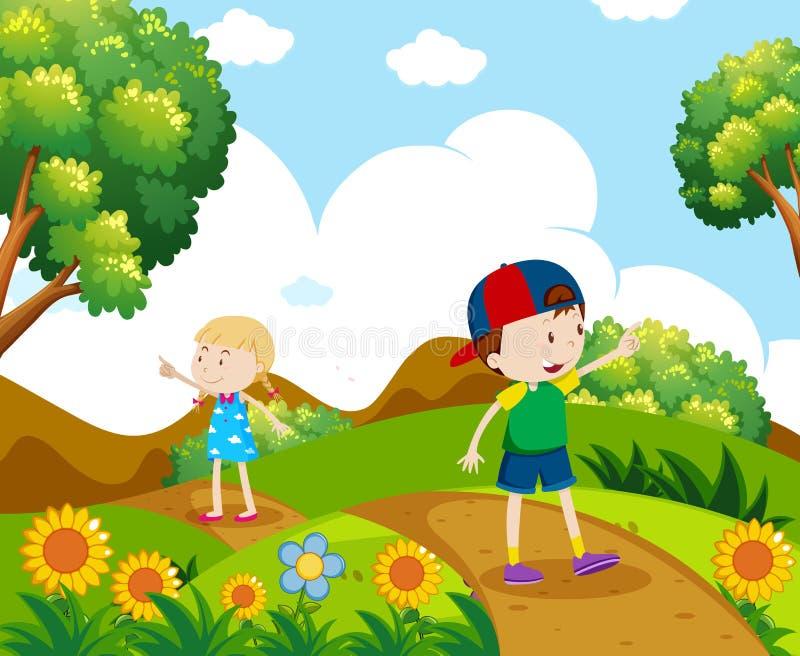 Junge und Mädchen, die auf dem Hügel wandern lizenzfreie abbildung