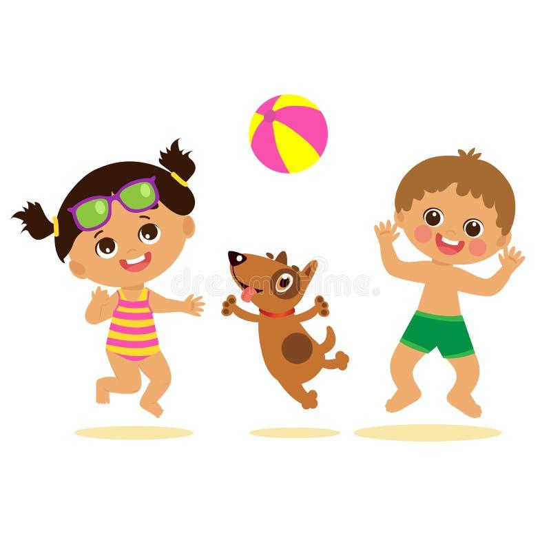 Junge und Mädchen, die Ball mit einem Hund spielen Kinder auf dem Strand-Vektor lizenzfreie abbildung