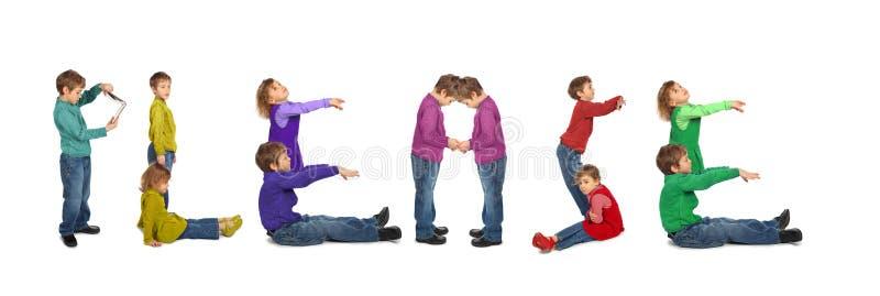 Junge und Mädchen, die BITTE Wort, Collage bilden lizenzfreie stockfotografie