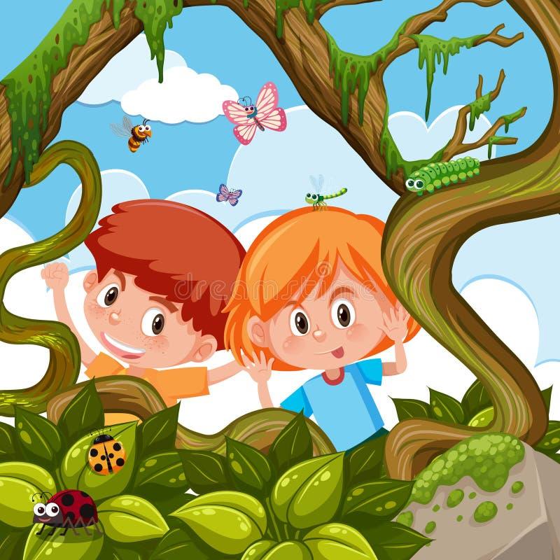 Junge und Mädchen, die in der Natur spielen stock abbildung