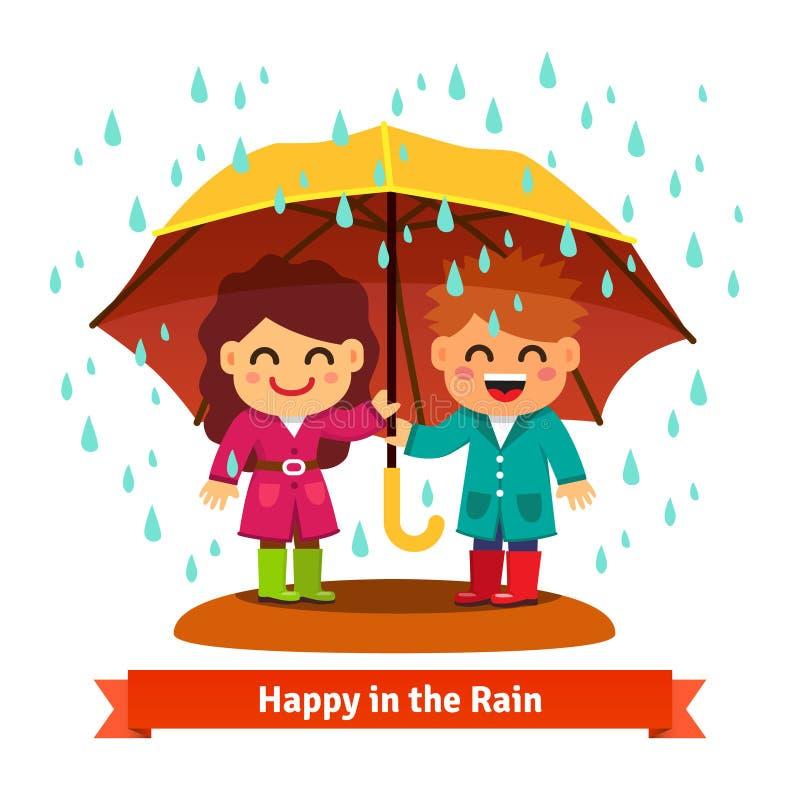 Junge und Mädchen, die im Regen unter Regenschirm stehen lizenzfreie abbildung