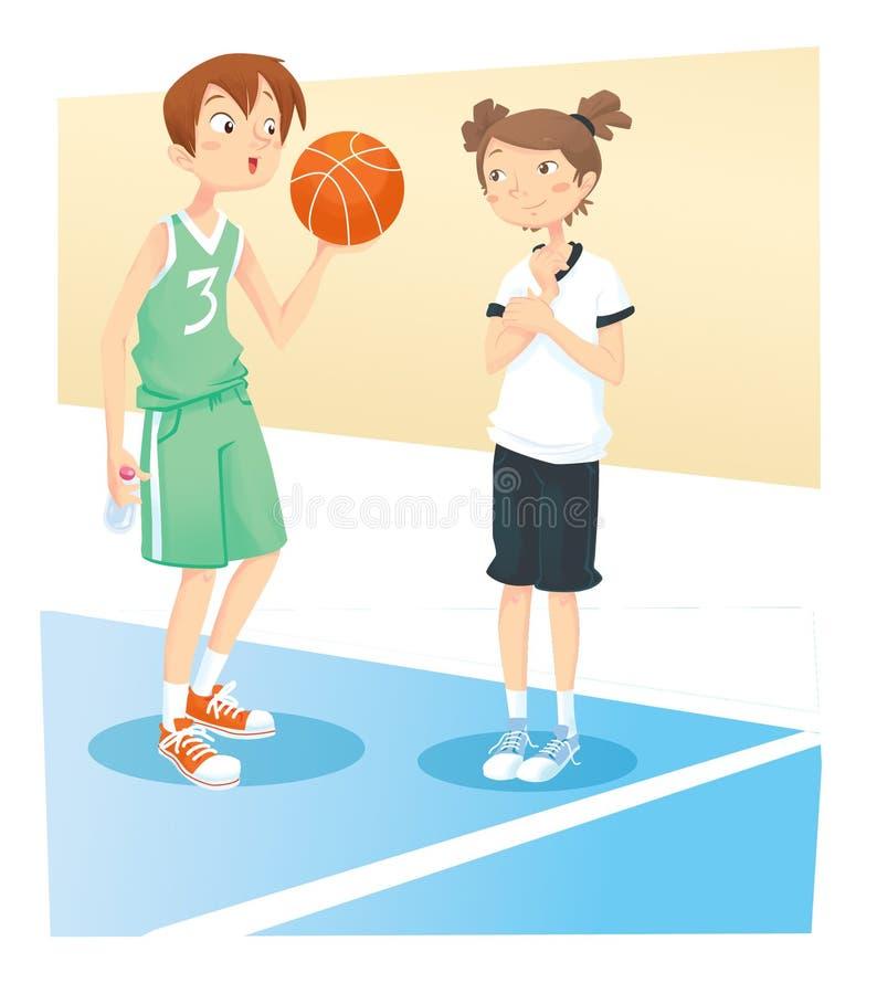 Junge und Mädchen, die Korbkugel spielen stock abbildung