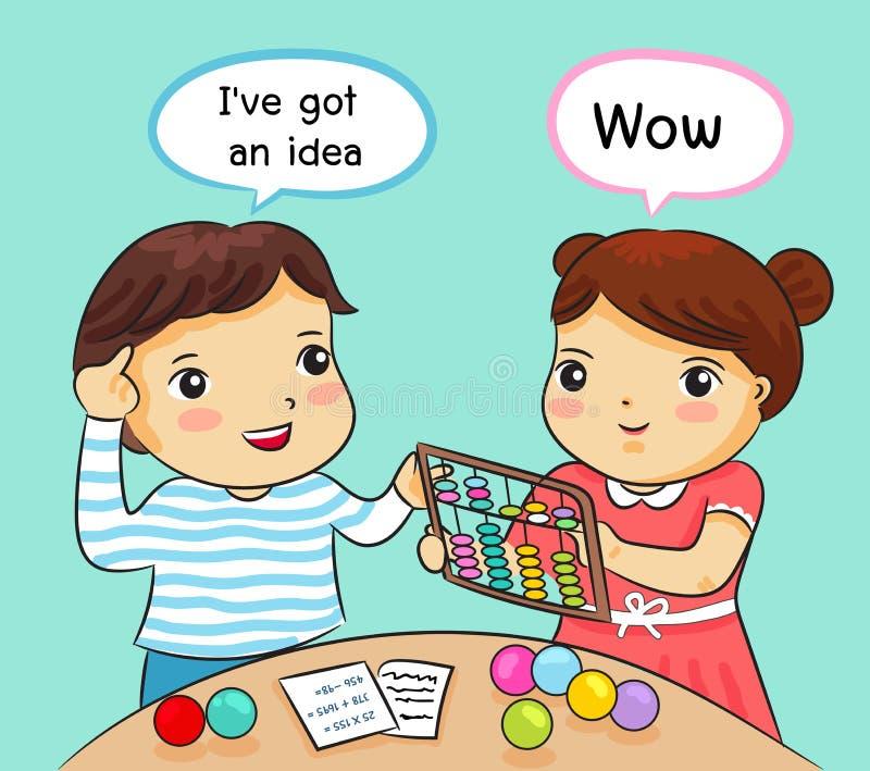 Junge und Mädchen, die Mathe mit Abakusvektorillustration lernen lizenzfreie abbildung