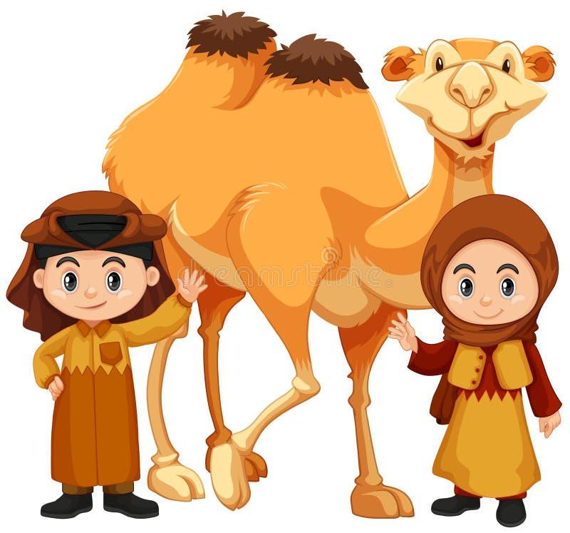 Junge und Mädchen, die mit Kamel stehen vektor abbildung