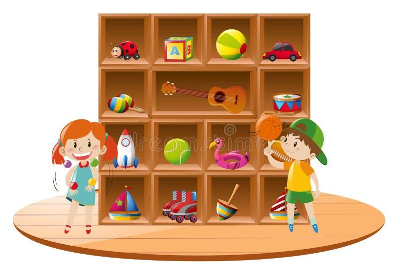 Junge und Mädchen, die mit Spielwaren im Raum spielen vektor abbildung