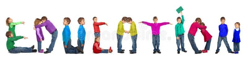 Junge und Mädchen, die Wort EDUCATOIN, Collage bilden stockfotografie