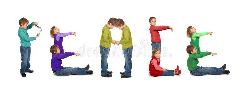 Junge und Mädchen, die Wort FRIEDEN, Collage bilden stockfoto