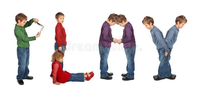 Junge und Mädchen, die Wort SPIEL, Collage bilden stockbilder