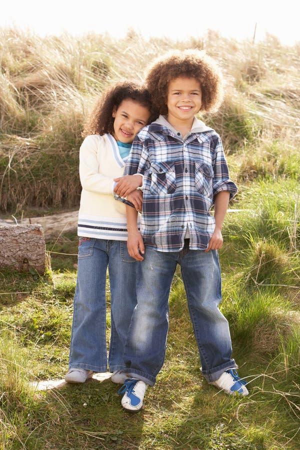 Junge und Mädchen, die zusammen auf dem Gebiet spielen stockbild