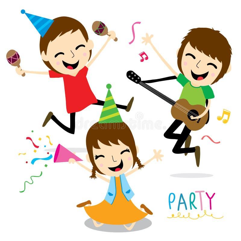 Junge und Mädchen genießen Partei-netten Karikatur-Vektor stock abbildung