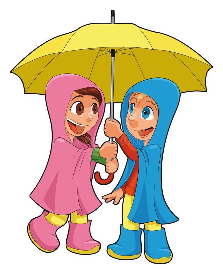 Junge und Mädchen unter dem Regenschirm. lizenzfreie abbildung