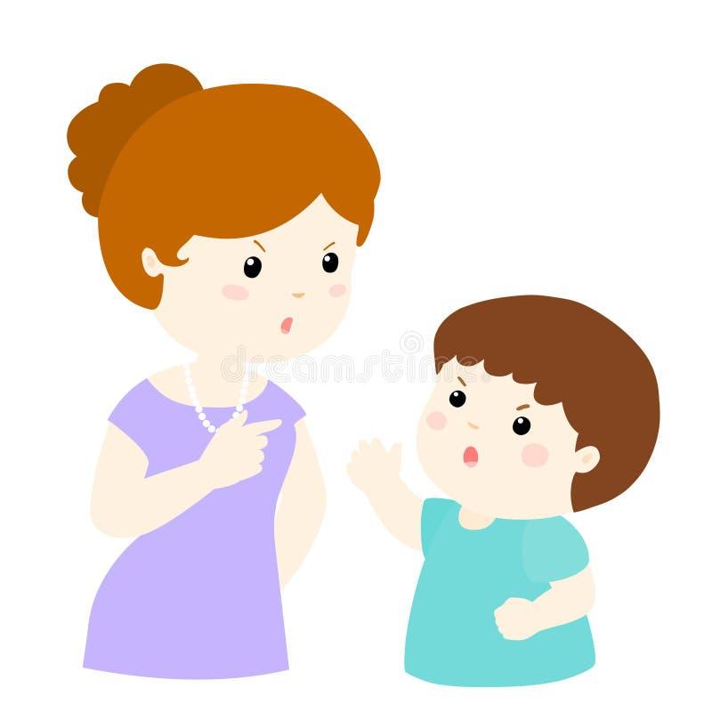 Junge und Mutter, die Illustration argumentieren lizenzfreie abbildung